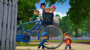 The Chipmunks and Chipettes with Dave's bike