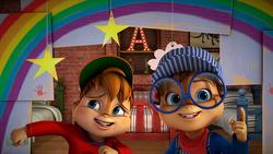 Alvin and Simon with Rainbow