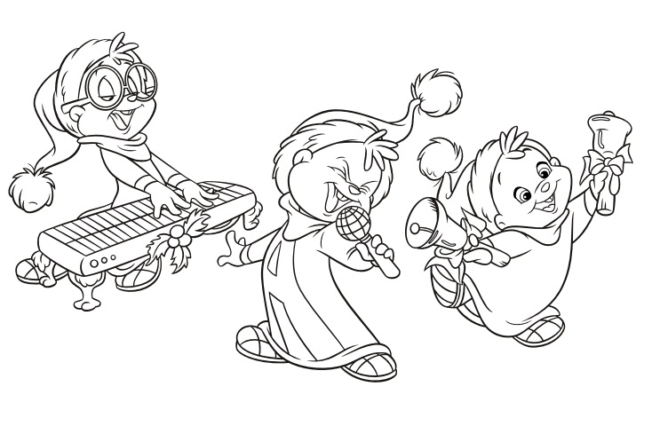 The Chipmunks Musical Christmas Colouring Page