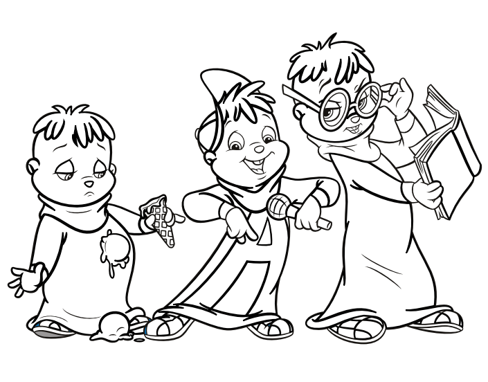 Image The Chipmunks Colouring Pagepng Alvin And