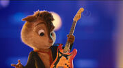 Alvin accidentally snaps his guitar string