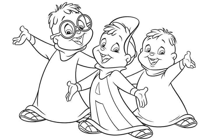 Image - The Classic Chipmunks pose colouring page.png | Alvin and ...