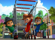 The Chipmunks with Shopping Trolley and Cowboy Outfits