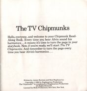 The TV Chipmunks 1984 Title Page
