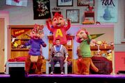 The Chipmunks and Dave on stage