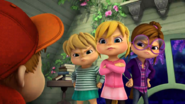 The Chipettes frowning at The Chipmunks