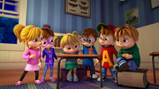 Chipmunks and Chipettes in room
