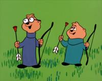 Simon and Theodore in Archery Contest