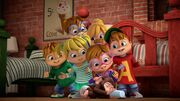 The Chipmunks and The Chipettes with a Baby Monkey