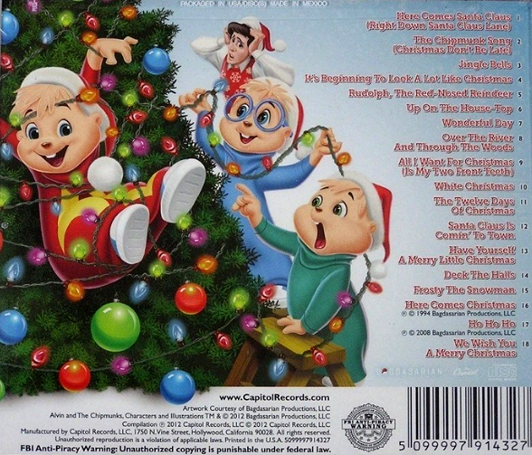chipmunks christmas back coverpng - Alvin And The Chipmunks Christmas Songs