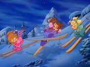 The Chipettes Skiing Postcard