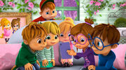 Chipmunks and chipettes in lights camera uh oh