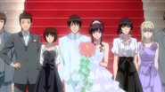 Junichi and Haruka's wedding picture with friends and family