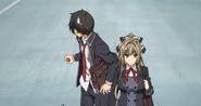 Seiya e Isuzu van a la oficina