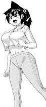 Megumi con leggings para realizar ejercicios en el Gimnasio