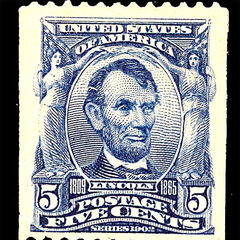 The 5c stamp, Abraham Lincoln, coil stamp (pairs can sell for $5000 or more)