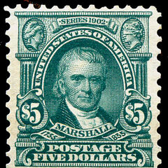 The $5 stamp, John Marshall. Just 48,000 produced. Perf 10 stamps were made in 1917 and are much more common.