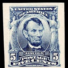 The 5c stamp, Abraham Lincoln, imperforate