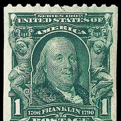 The 1c stamp, Benjamin Franklin, horizontal coil stamp (2008 auction for this stamp realized $130,000)