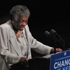 Angelou speaking at a rally for <a href=