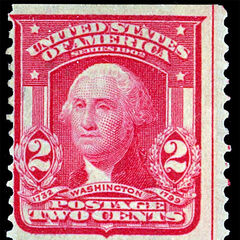 The 2c stamp, George Washington, vertical coil stamp (singles can bring $5,000 or more)