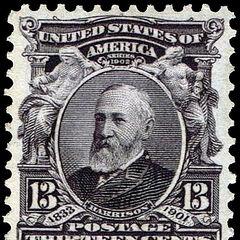 The 13c stamp, Benjamin Harrison. Just 31 million produced