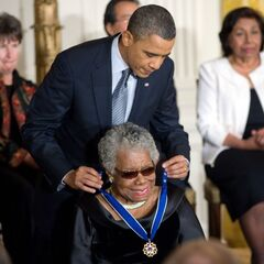 Angelou being presented with the Presidential Medal of Freedom by <a href=