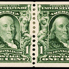 The 1c stamp, Benjamin Franklin, vertical coil stamp (pairs can bring $6,000 or more)