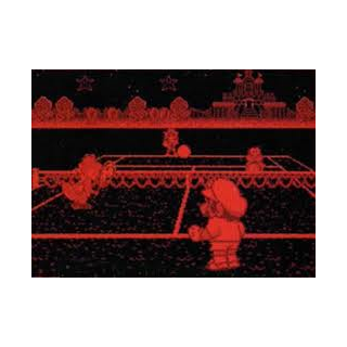 The screen of Mario Tennis, one of the games released for the Virtual Boy