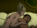Kiss between Deadshot and Harley Quinn