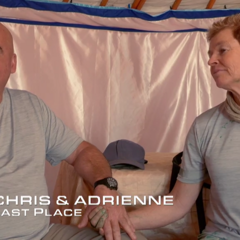 Chris & Adrienne are eliminated from the Race in 8th place after Chris suffered broken ribs falling from a camel.