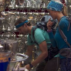 Adam & Bethany doing the <i>Tea Time</i> Detour in the <a href=