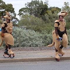 Margie &amp; Luke hopping around in their Kangaroo suits in <a href=
