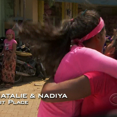 Natalie &amp; Nadiya celebrate winning the second leg and the <a href=