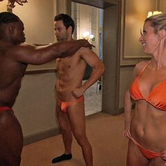 Jeremy & Sandy getting ready to show off in Speedos in <a href=