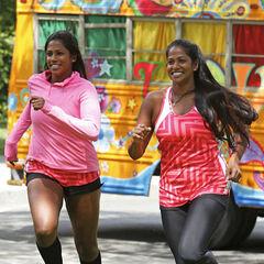 Natalie &amp; Nadiya running to the <a href=