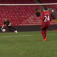 Rachel kicking Soccer balls in the <a href=