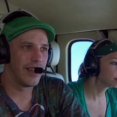 Justin & Diana in the helicopter.