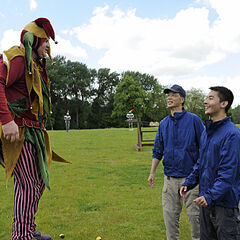 Michael & Kevin with the jester durin the <a href=