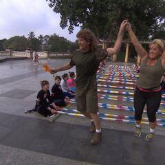 Chuck & Wynona doing the múa sạp in the <a href=