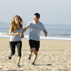 Cindy & Rick running to the <a href=