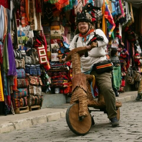 Mark & Bill performing the <i>Dumpy Ride</i> Detour in Bolivia.