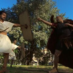 Leo & Jamal doing the <i>Gladiator</i> Detour in the <a href=