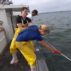 Kelsey & Joey hoisting lobster traps in the <a href=
