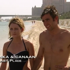 Mika & Canaan were eliminated from the race in 7th place after Mika's meltdown at the water-slide.