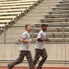 Bopper & Mark running to the starting line.
