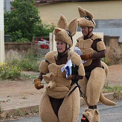 Gary & Mallory in their kangaroo costumes during the <a href=