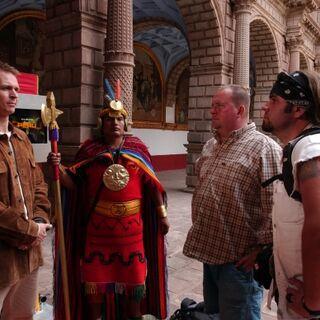 Ryan & Chuck arriving at the Pit Stop at Convento de La Merced in Peru.