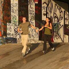 Garrett & Jessica running to the <a href=