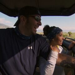 Vanessa &amp; Ralph in a Safari vehicle during the <a href=
